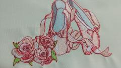 Ballet shoes and roses embroidery design