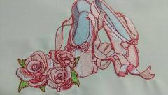 Ballet shoes machine embroidery design