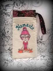 Embroidered bag with yoga girl