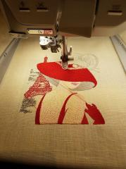 Making woman in hat embroidery design