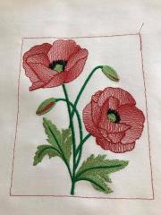 Poppies free machine embroidery design