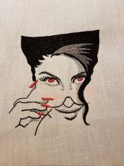 Woman in sunglasses embroidery design