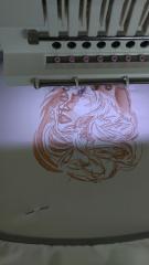 Work under Indian woman portrait embroidery design
