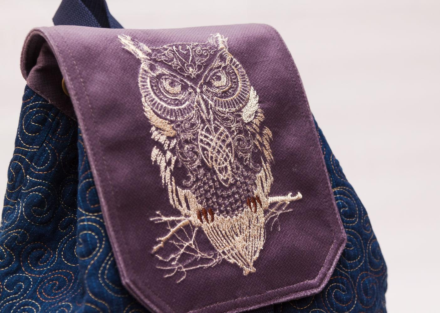 Embroireded backpack with tribal owl design