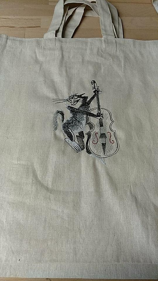 Embroidered bag with Cat and contrabass free design