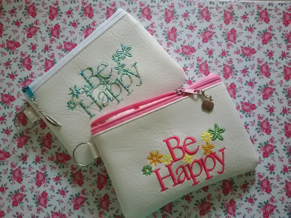 Embroidered handbags with Be happy free design