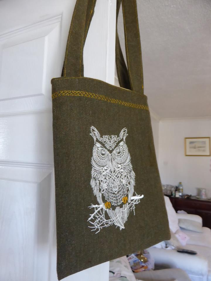 Embroiderer textile bag with Tribal owl design