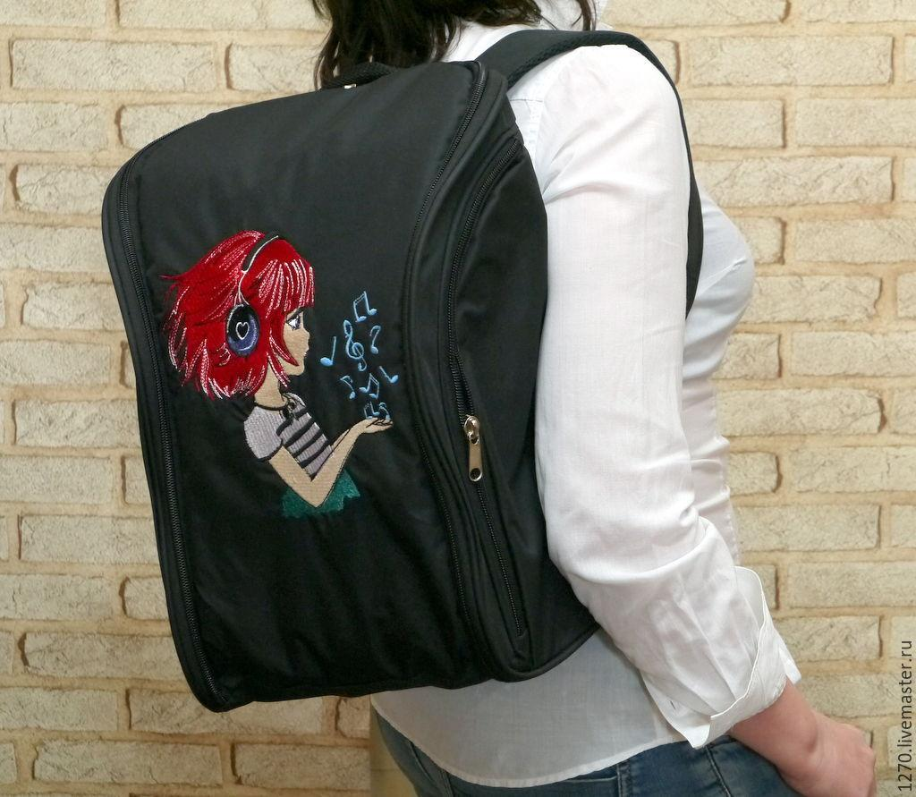 Embroidered backpack with Girl listens music design