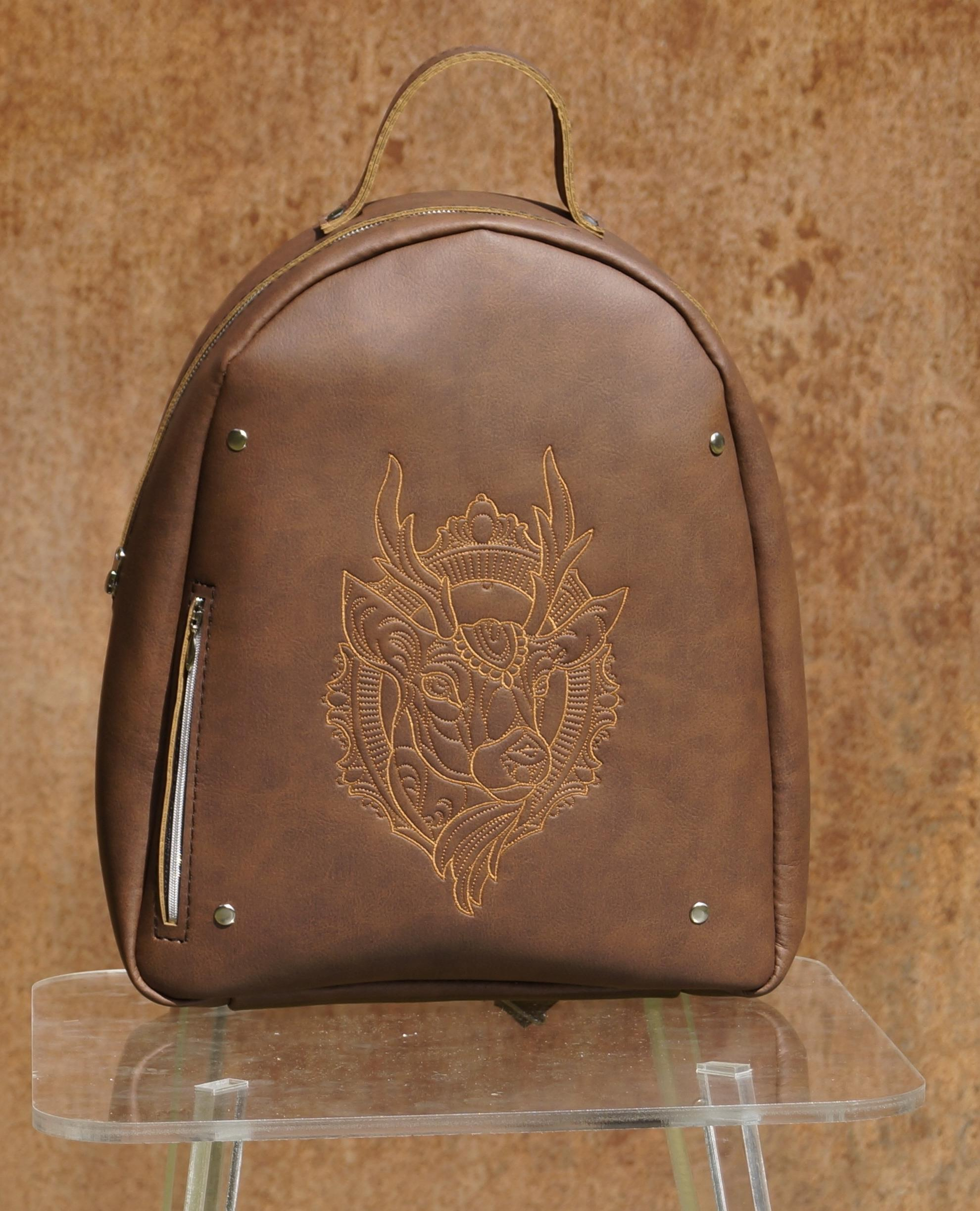 Embroidered backpack with Deer's head design