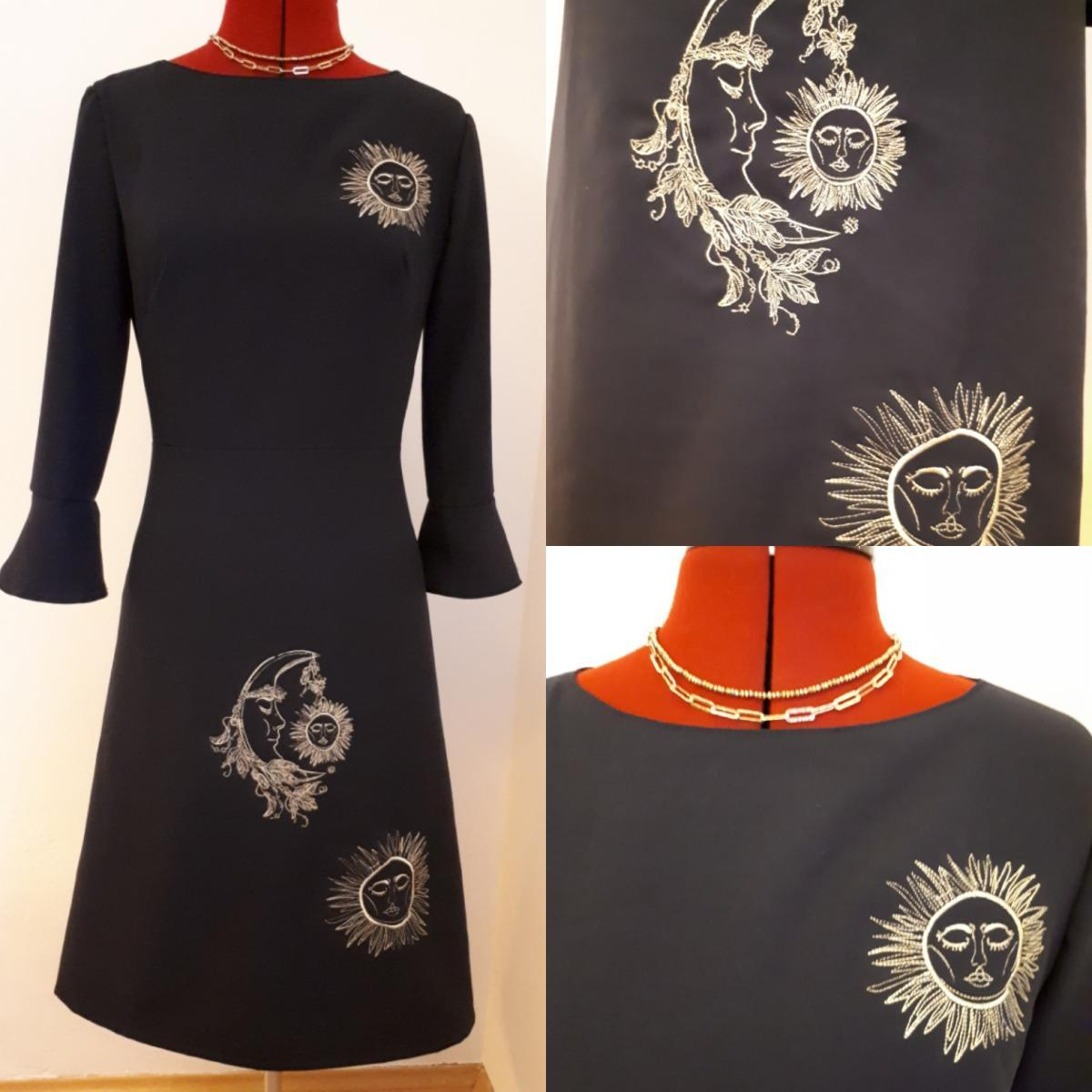Embroidered dress with Sleeping moon and sun design