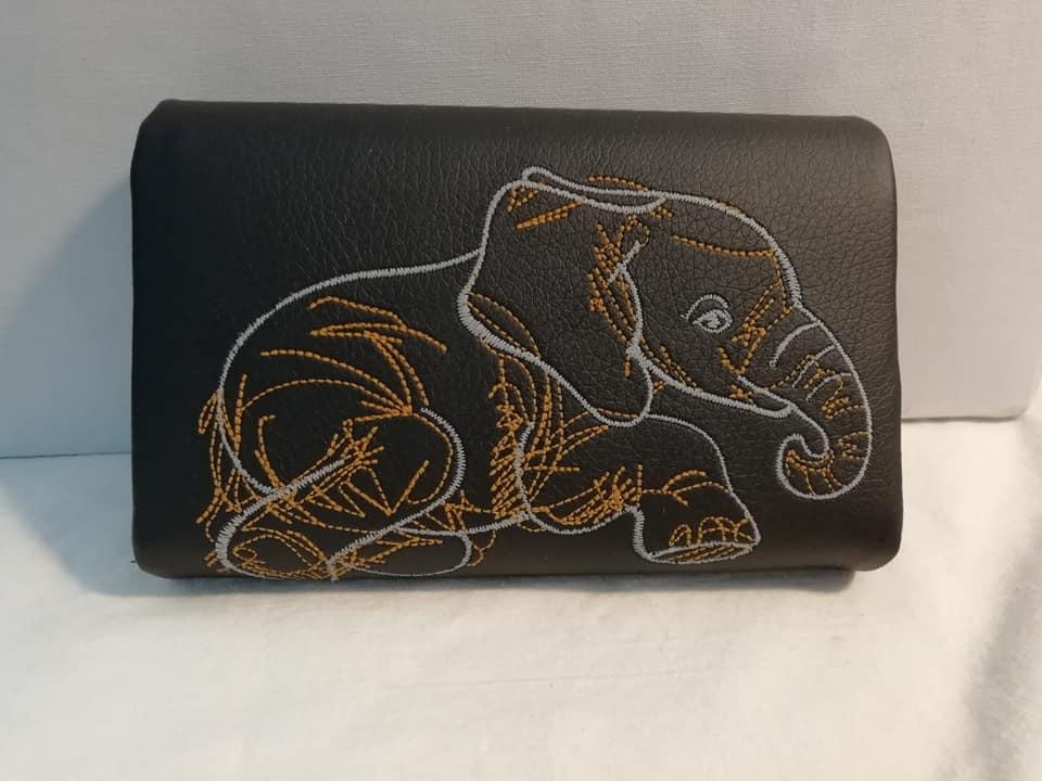 Embroidered purse with Elephant sketch design