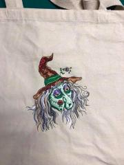 Embroidered bag with Ugly witch design
