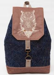 Embroireded backpack wise owl design