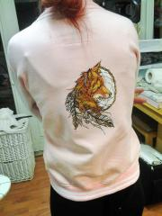 Embroidered hoodie with fox dreamcatcher design
