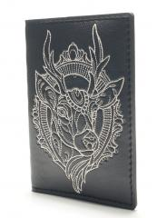 Embroidered document cover with deer head design