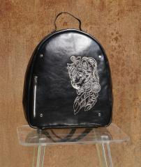 Embroidered backpack with Wolf spirit design