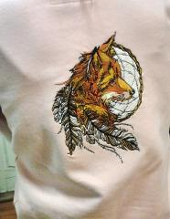 Fox and dreamcatcher embroidery design