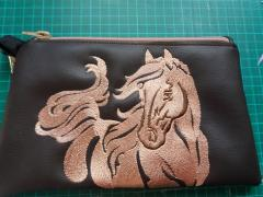 Embroidered handbag with Running horse design