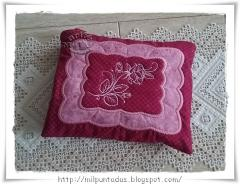 Embroidered cushion with Rose free design