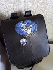 Embroidered leather backpack blue meadow design