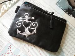 Embroidered wallet with Anchor and lifebuoy free design