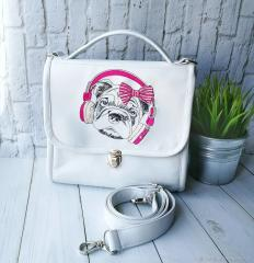 Embroidered portfolio with Stylish pug-dog design