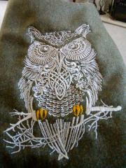 Tribal forest owl embroidery design