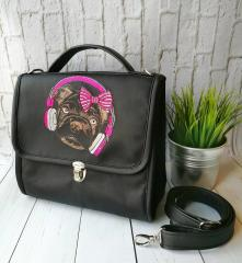 Embroidered bag with stylish pug dog design