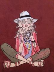 Lady photographer embroidery design