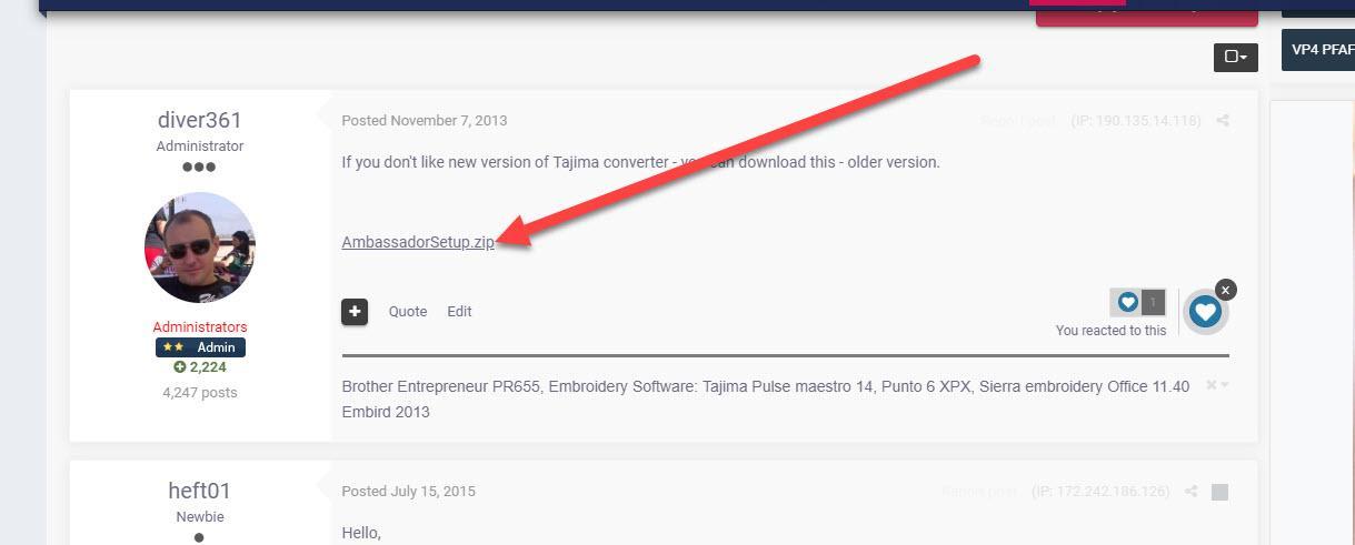 Tajima Ambassador - not online version - Tajima Pulse software