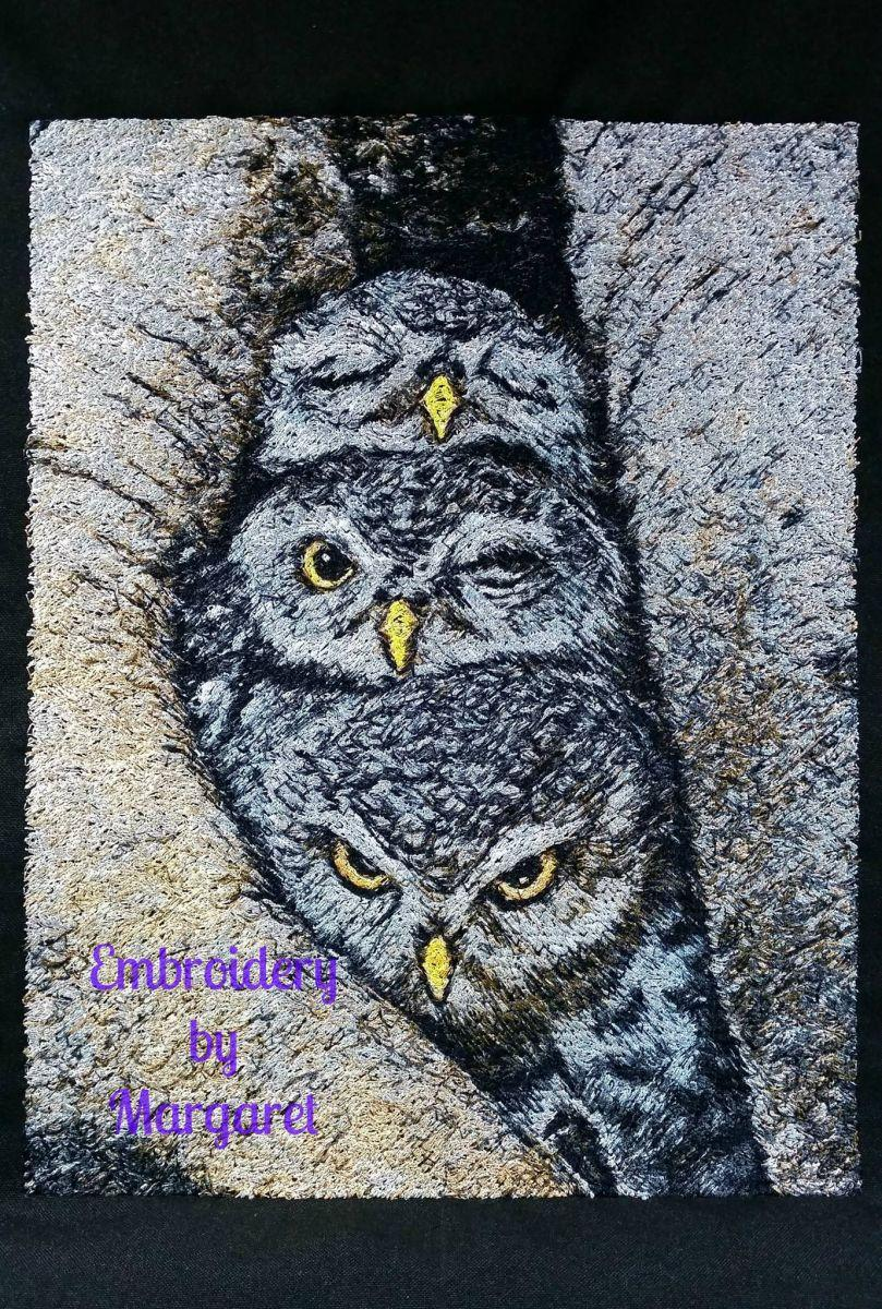 Embroidered owls free design