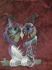 Colored owl embroidery design