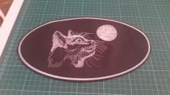 Embroidered napkin with Cat and free moon design