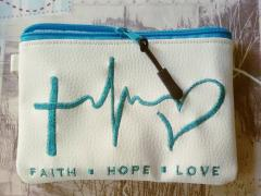 Embroidered handbag with Faith, hope and love design