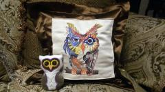 Embroidered set with Colorful owl design