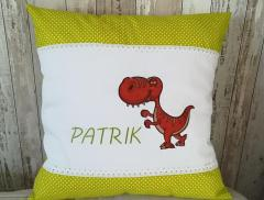 Embroidered cushion with Tiranosaur design