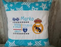 Embroidered cushion with Real Madrid logo
