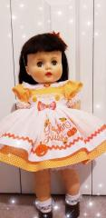 Embroidered doll's dress with Pumpkin kisses design