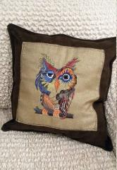 Embroidered cushion with Colorful owl design