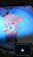 Teddy bear machine embroidery design sewing process