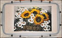 Sunflowers and Chamomiles embroidered design
