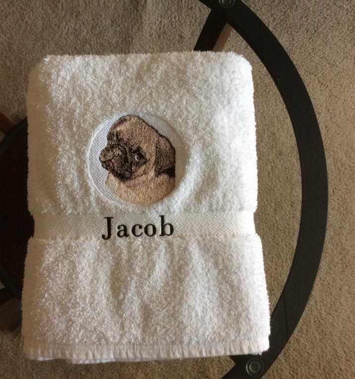 Embroidered towel with Pug dog free design