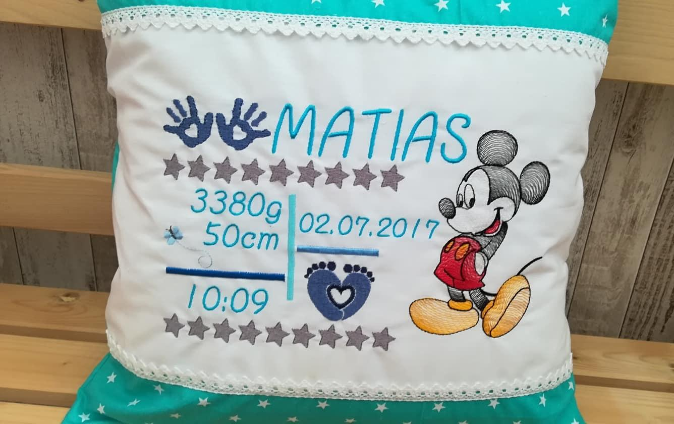 Embroidered cushion with Mickey design