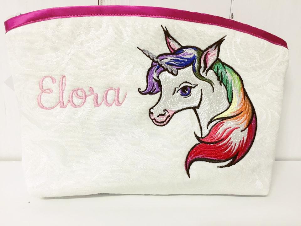 Embroidered handbag with Unicorn design