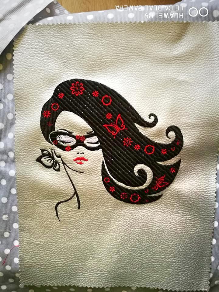 Posh girl embroidery design