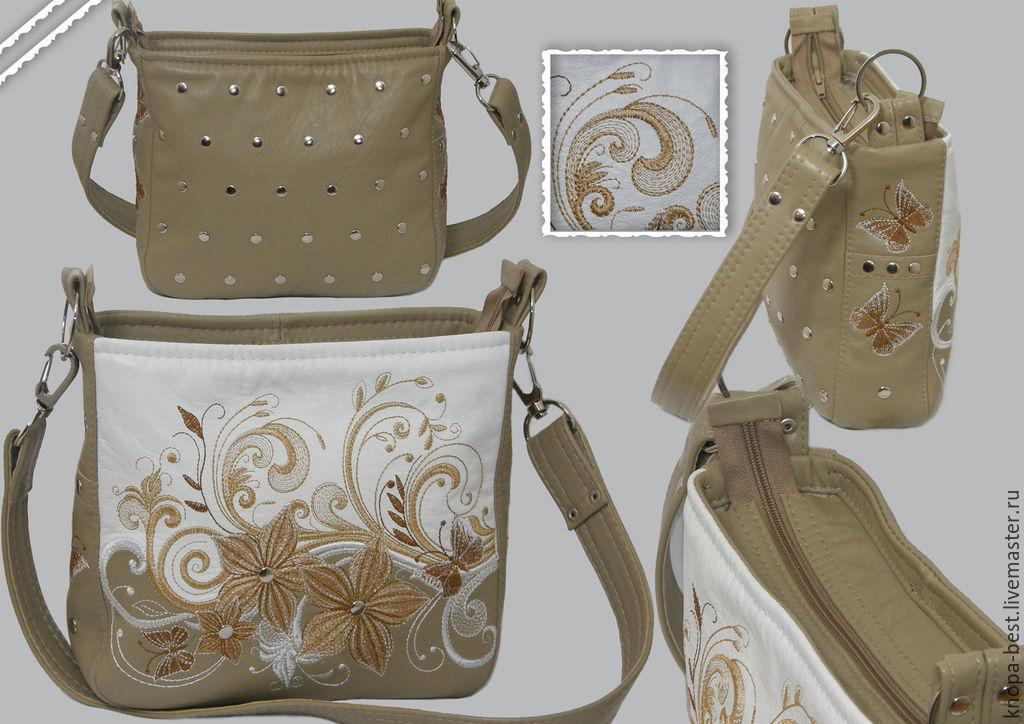 All views of embroidered bag with Floral design