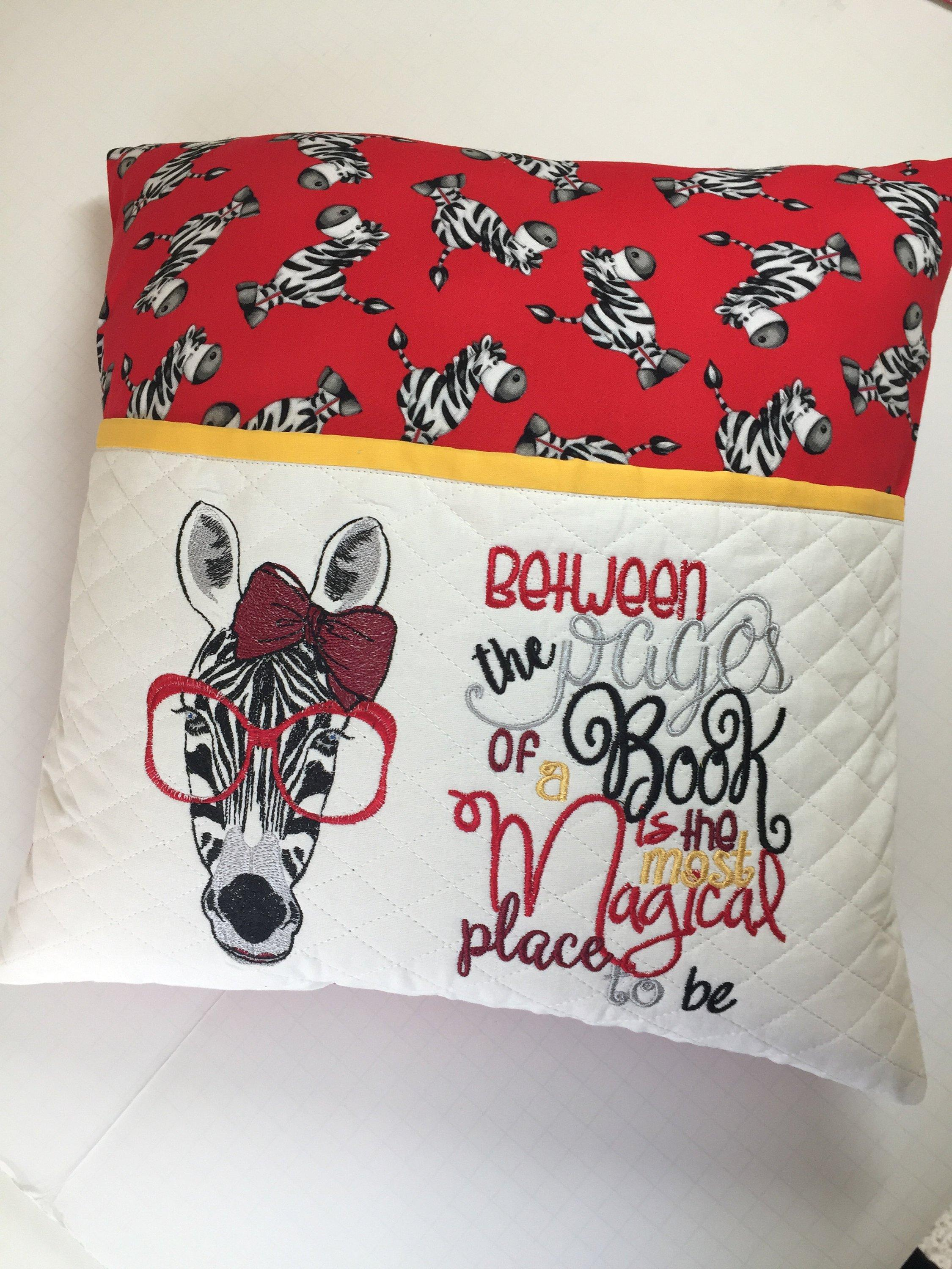 Embroidered Pillow with Zebra in glasses free embroidery design