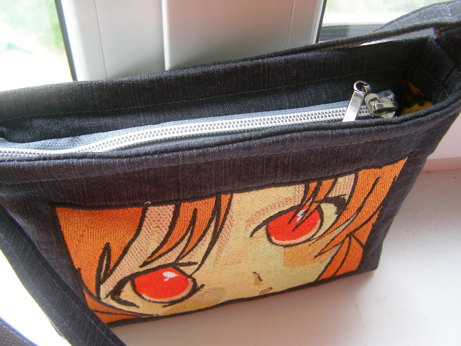 Embroidered bag with Anime look design