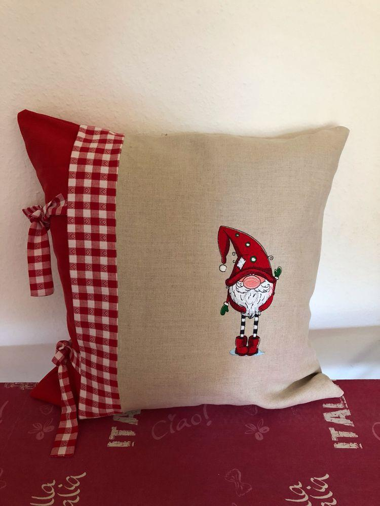Embroidered cushion with Christmas gnome design