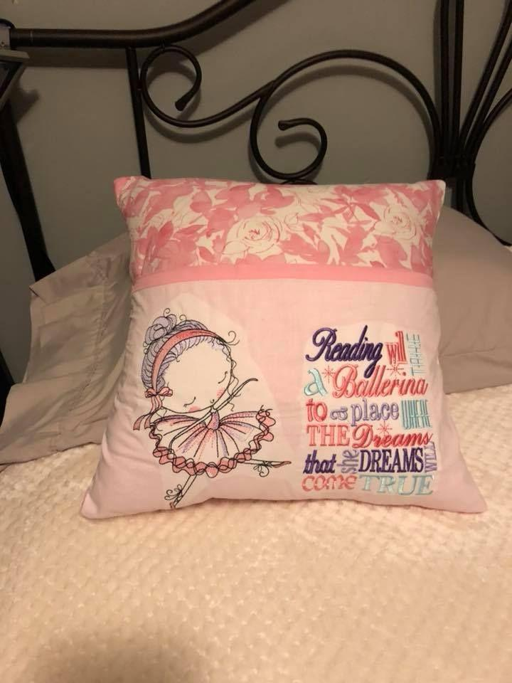 Embroidered cushion with Young ballerina design